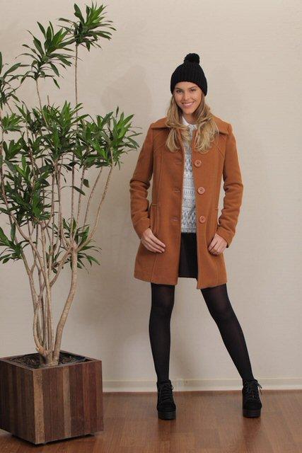 casaco comprido de lã tita catita